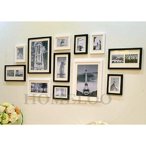 Marco de pared para fotos, de madera, 12 unidades (blanco y negro)