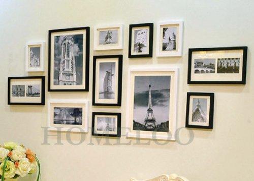 Lot de 12 cadres à photos muraux modernes en bois (Noir & Blanc ...