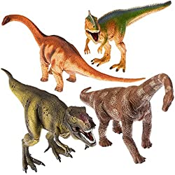Prextex - Pack de Dinosaurios de Juguete - 4 Figuras de Dinosaurios de Plástico Enormes y Realistas de 33cm