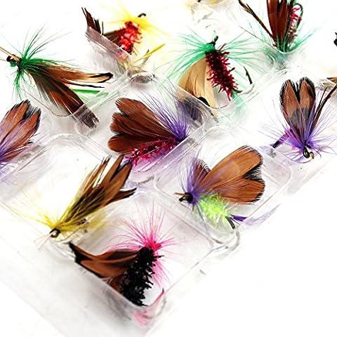 LaDicha 12Pcs/Lot Fly Pêche Crochets Pêche Leurre Plume Acier Bait Hook Tackle Insecte Artificiel Lure Carpe