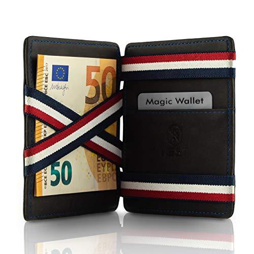 West - Magic Wallet - Das ORIGINAL - Geldbeutel mit Münzfach - Datenschutz Dank RFID - inklusive Edler Geschenkbox - Der perfekte Begleiter für unterwegs (Schwarz-Blau)