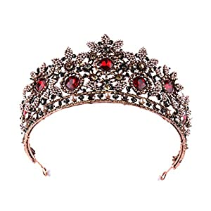 ZYUEER Krone Voller Diamant Roter Zirkon Blume Stirnband Stirnband Damenschmuck