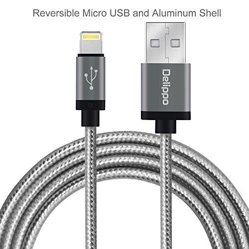 Preisvergleich Produktbild Delippo® Iphone cable 3.3ft/1M Nylon Ummanteltes USB Kabel Datenkabel mit Blitz-Anschluss [Apple MFi Zertifiziert] für iPhone 6/6 Plus, iPad Air 2 uswgrau)