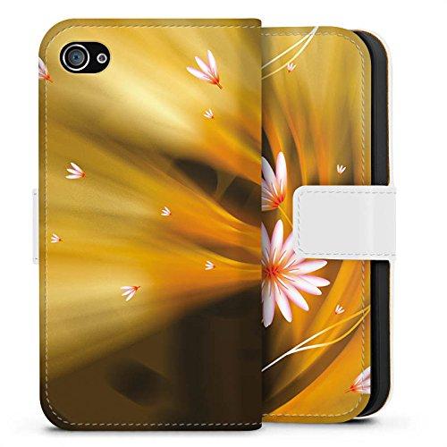 Apple iPhone X Silikon Hülle Case Schutzhülle Flower Blüten Muster Sideflip Tasche weiß