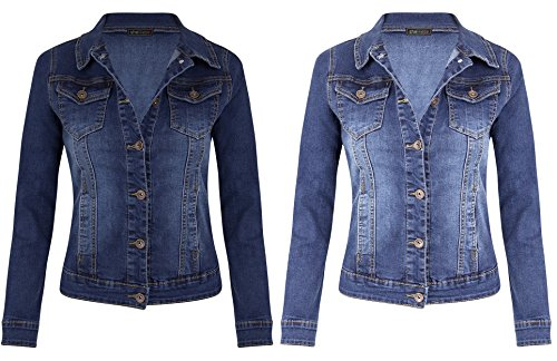 SheLikes Womens Mid Wash Denim Long Sleeve Jacket UK 10-18