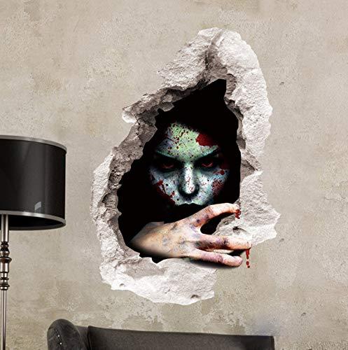 Halloween Décoration 3D Vue Effrayant Sanglant Cassé Mur Fantôme Sticker Mural Home Decor Murale Partie Art 60 * 45Cm stickers muraux