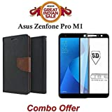 Faadu Engineer ® Asus ZenFone Max Pro M1 Flip Cover Case Combo Offer Mercury Magnetic Lock Diary Wallet Style Flip Cover Case (Brown) + 5D 9H Hardness Tempered Glass Screen Protector (Black)
