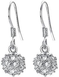 4711cf765a2e VOGEM VOGEM Crystal Rhinestone Ball Earrings For Women Girls 18K Gold  Plated Silver Hook Dangle Earrings
