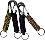EOTW Omandu Paracord Survival Key Chain Rope with Super Strong Carabiner Lanyard Parachute Parachute For Outdoor, Survival, Camping, Hiking Excursions, and More(4 Pack) (Black + Camo)