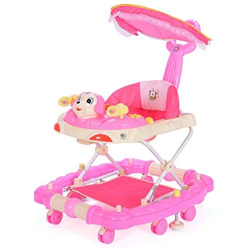 Passeggino, Baby walker, 6 Scienza di 7-18 mesi rollover multifunzione musica bambino attività walker girello-rosa