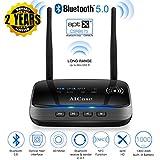 AICase Adaptateur Bluetooth 5.0, Émetteur Récepteur Bluetooth 3 en 1 NFC Transmitter Receiver 100M Gamme, Optique numérique, AUX 3,5 mm, aptX HD et aptX Faible Latence, Rechargeable par USB