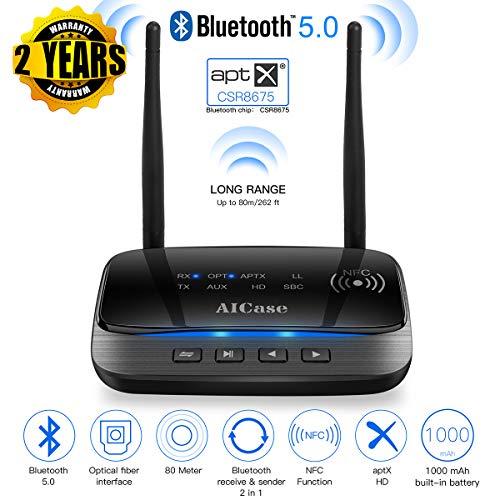 AICase Bluetooth 5.0 Adapter-Transmitter und Empfänger, Kabelloser Audio-Receiver,Dual-Antennas, 265FT/ 80 Meter, Schwarz Usb-audio-codec
