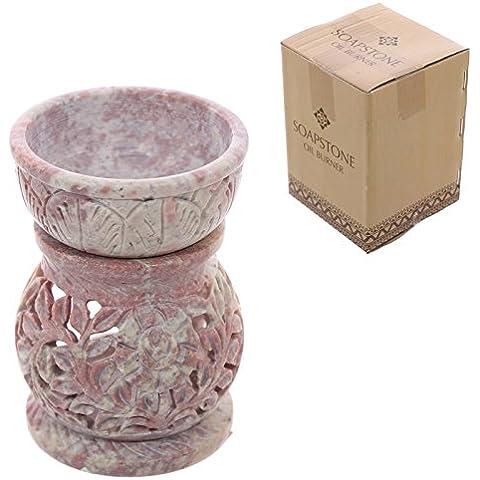 Bruciatore per olio in pietra saponaria, con motivo decorativo, colore: rosa pallido