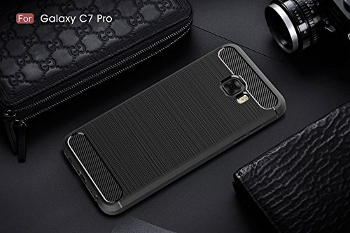 EKINHUI Case Cover Dünn und Leightweight Brushed Carbon Fibre Robuste Rüstung Back Cover Stoßstange Fall Shockproof Drop Resistance Shell Cover für Samsung Galaxy C7 Pro ( Color : Black ) Black