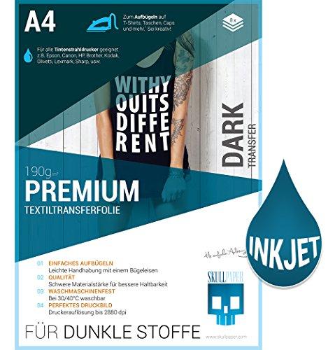PREMIUM T-Shirt Textil-Transferfolie FÜR DUNKLE STOFFE Textilien DIN A4 zum aufbügeln und selbst gestalten - 8 Blatt für Inkjet Tintenstrahldrucker