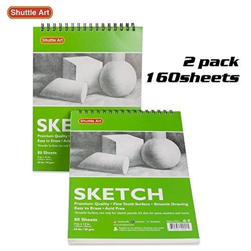 Artistas Sketch libros, 9x 12Shuttle arte 160hojas de papel de dibujo Pad Ideal para dibujar y escuela suministros