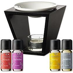 Duftöl Set mit Duftlampe - Entspannung - Pfirsich, Orchidee, Honig, Sandelholz - Aromaöl für Duftlampe und Diffuser von miaono