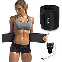 INTEY Bauchweggürtel Schwitzgürtel Neopren Bauchgürtel mit Maßband Waist Trimmer Verstellbarer Fitnessgürtel zum Abnehmen und Muskelaufbau für Herren und Damen, Schwarz