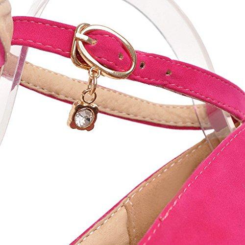 AllhqFashion Femme Rond Boucle Suédé Couleur Unie Stylet Chaussures Légeres Rose Tendre