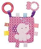 Bieco 17700333 Baby Spiel und Lernbuch Elefant Elena mit Beißring Kinderwagenspielzeug Hängespielzeug Stoffspielzeug ca. 17 cm rosa