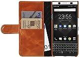 StilGut Talis Schutz-Hülle für BlackBerry KEYone mit Kreditkarten-Fächern aus echtem Leder. Seitlich aufklappbares Flip Case in Handarbeit gefertigt für das Original BlackBerry KEYone, Cognac