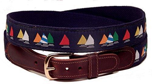 Preston Leather Rainbow Fleet Sailboats Belt Blue 42