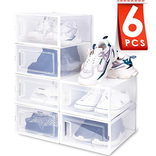 Amzdeal Cajas de Zapatos Plásticas 6 Pcs - Organizador de Zapatos Transparente, Apilable y Impermeable...