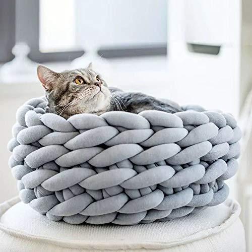 WULAU Katzenbett Pet Bett Kissen Hundebett Katzenhaus, Handbuch Grobe Wolle Vorbereitung von Katzenstreu Bequem und Warm(Durchmesser 40cm)