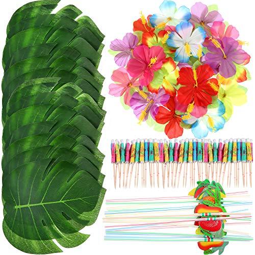 Frienda 148 Stücke Luau Themen Party Dekorationen, 24 Stücke Tropische Palmblätter, 24 Stücke Hawaiian Blumen, 50 Stücke Mischfarbe Regenschirme und 50 Stücke Bunte 3D Frucht ()