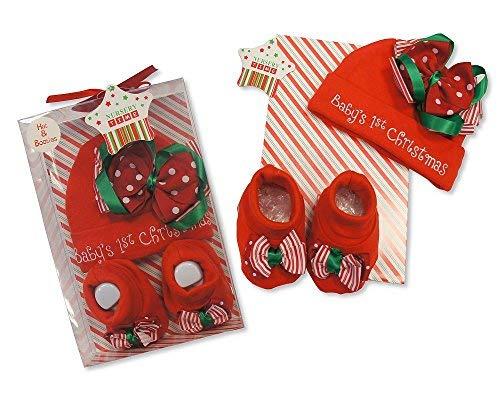Ensemble de cadeau de Noël bébé garçons filles 0-3 mois Bonnet et chaussons