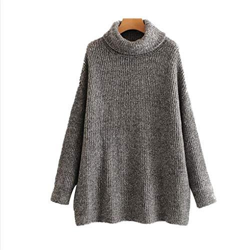 Jeaniumsot Les Femmes Jumpers Pulls š€ col RoulšŠ Oversize Hiver Manches Chauve-Souris de No?l Manteau Sweater Dark Grey M