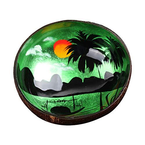 Jiay - Cuenco de Almacenamiento Natural de Nuez de Coco Shell para Escritorio, Caja de Almacenamiento de Caramelos Pintados y Joyas