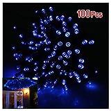 SODIAL(R) 17m Tira de Solar LED Luz Azul 100LED, Eleccion de Efecto de Luz, Ideal para Fiesta de Navidad, Halloween, Casa, Jardin, Arbol, Fiesta Festiva — Impermeable, Super Brillante