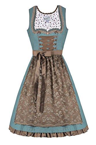 MarJo Moser Trachten Baumwolle Mini Dirndl 55er Türkis Taupe Edmana 003810, Rocklänge: ca. 55 cm, mit Reißverschluss, Größe 34