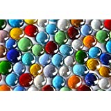 500g Glass Pebbles Transparent 15 21 mm Colorful Decorative Mosaic Approx. 120St