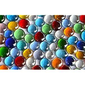500g Glasnuggets transp. 15-21mm bunt Dekosteine Glassteine Muggelsteine Deko Mosaiksteine ca 120St
