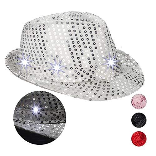 Relaxdays 10023897_55 Pailletten Hut, 6 blinkende LEDs, mit Glitzer, Männer & Frauen, JGA, Fasching, Partyhut, Einheitsgröße, Silber, Unisex- Erwachsene,