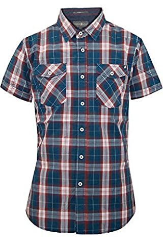 Crosshatch CH108519 Mens Backoff Check Shirt - Blue Check - Medium