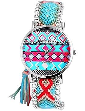 Donna Kelly Damen analog Armbanduhr mit Quarzwerk 191128500001 Metallgehäuse mit Textil Armband in Mehrfarbig...