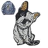 ZUOLUO Bügelflicken Kleidung Applique Applikation Aufnäher Patch Element Patch Kleider Wunschtext Frauen Tasche Glitzer Mädchen Grau Handwerk Hund dog2