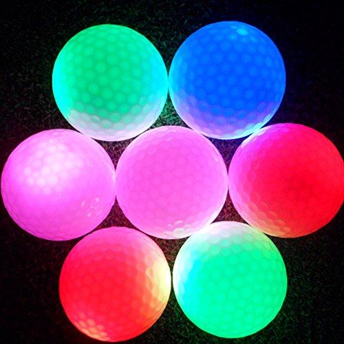 Tbest 3 Stück LED Leuchtende Golfbälle Golfball Nacht, LED Light-Up Golfbälle Blinken Glühend Langlebige Wiederverwendbare Bright Night Golfball für Golf Sport Praxis Training 6 Farben(Grün)
