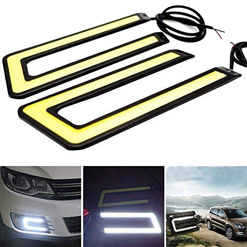 2PCS COB a forma di U auto luci diurne a LED lampada nero bianco luce diurna per auto SUV berlina Coupé veicolo