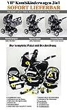 3 in 1 Kombikinderwagen Komplettset VIP – inkl. Kinderwagen, Babyschale und Sportwagen Aufsatz – 1. ALU Hartgummi Bereifung – 33. Schwarz - 3