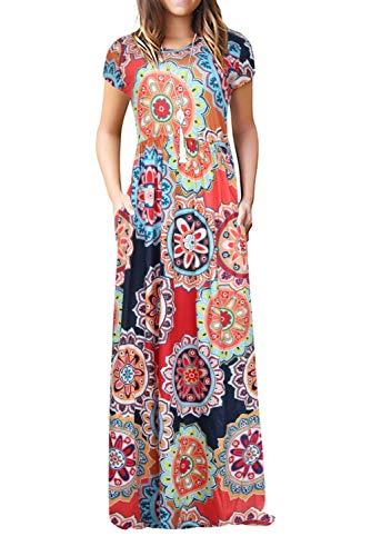 Damen Sommerkleider Kurzarm Lose Blumen Maxikleider Casual Lange Kleider mit Taschen, Blumen-bunt, L