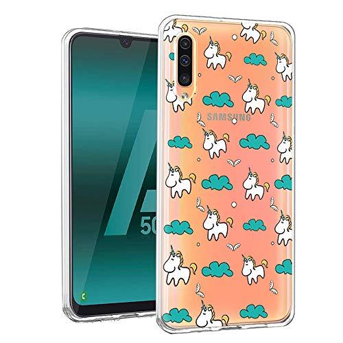 ZhuoFan Funda Samsung Galaxy A50, Cárcasa Silicona Transparente con Dibujos Diseño Suave TPU Gel Antigolpes de Protector Piel Case Cover Bumper Fundas para Movil Samsung A50 2019, Unicornio