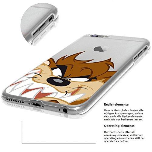 finoo | IPHONE 6 / 6S Lizensierte Hardcase Handy-Hülle | Transparente Hart-Back Cover Schale mit Looney Tunes Motiv | Tasche Case mit Ultra Slim Rundum-schutz | Tweety freut sich Taz schaut