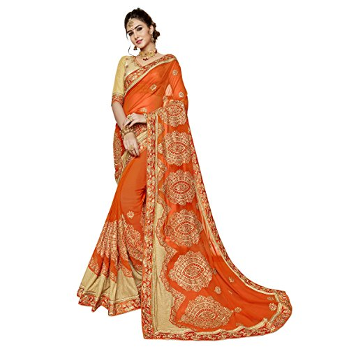 Triveni Georgette Orange Festivalabnutzung Gestickt Traditionell Sarees (Georgette Saree)