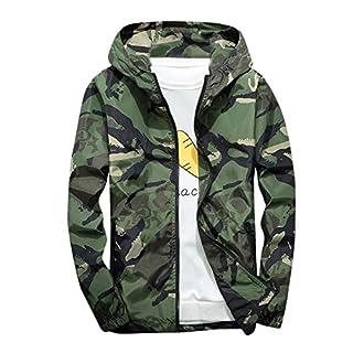 Xmiral Mäntel Herren Mit Kapuze Softshell Camouflage Wasserdichte Winddichte dünne Jacke (XS,Grün)