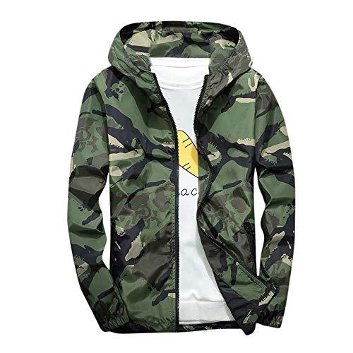Xmiral Mäntel Herren Mit Kapuze Softshell Camouflage Wasserdichte Winddichte dünne Jacke (XL,Grün) - Grün-michael Kors Mantel
