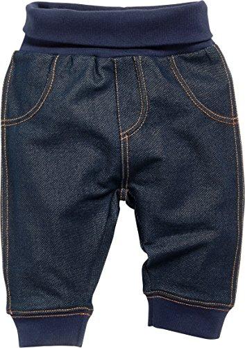 Schnizler Baby-Unisex Sweat-Hose, Babyhose in Jeans-Optik mit elastischem Bauchumschlag Jogginghose, (Blau 7), 92